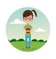 back school girl glasses student landscape vector image