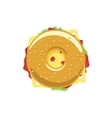Bagel sandwich logo donut with meat tasty vector image vector image