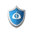 banking protection mobile wallet on shield icon vector image vector image