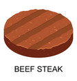 Beef steak icon isometric style
