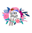 black friday floral banner with character vector image