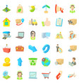 bundle icons set cartoon style vector image vector image