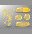 capsules with oil gold round and oval pills vector image vector image