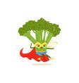 cartoon character of superhero broccoli in fighter vector image vector image