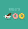 cartoon comic coffee cup and donut take coffee vector image vector image