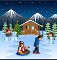 cartoon father pulling a son on a sled in winter b vector image vector image