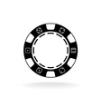 Casino poker chip black symbol with empty space in vector image vector image