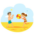 children on beach kids playing volleyball game vector image vector image