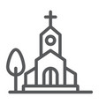 church line icon religion and building chapel vector image