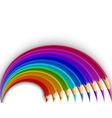 Colorful pencils in the shape of a rainbow vector image