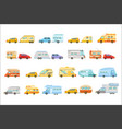 colorful rv minivan with trailer set of icons vector image vector image
