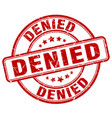 denied red grunge round vintage rubber stamp vector image