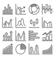 diagram and graphs icons set on white background vector image vector image
