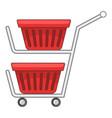 double shopping cart icon cartoon style vector image