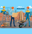 engineer builder workers on construction site vector image vector image