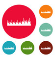equalizer audio icons circle set vector image vector image