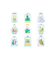 flat set glass vessel with blooming vector image vector image