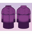 front and back view of a stylish coat vector image vector image