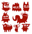 funny red flat monsters vector image vector image