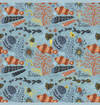 handdrawn sea pattern with various marine vector image vector image