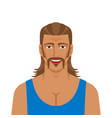 handsome man with mullet hairstyle vector image