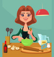happy smiling housewife character prepare food vector image vector image