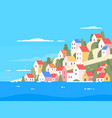 houses on coast of greece vector image