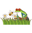 isolated picture green frog in garden vector image vector image