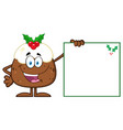 jolly christmas pudding cartoon character vector image vector image