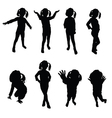 kids silhouette black vector image vector image