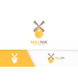 mill and shield logo combination farm and vector image vector image
