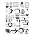 monochrome of kitchen tools vector image