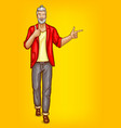old man hipster points to sales vector image vector image