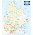 province quebec road map with flag vector image vector image
