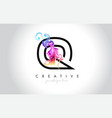 q vibrant creative leter logo design with vector image