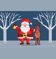 santa claus and reindeer xmas characters in woods vector image vector image