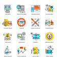 set flat line design icons vector image vector image