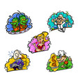 set icons in comic cartoon style image is vector image vector image