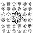 Set of flower line icons vector image