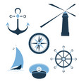 set of marine objects wheel captain cap vector image
