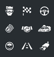 set street racing icons vector image
