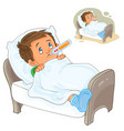 sick little boy lies in bed with a vector image