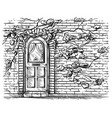 sketch hand drawn old wooden arched door in brick vector image