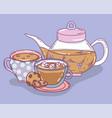 tea time sketch flat design vector image vector image