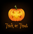 trick or treat happy halloween banner with pumpkin vector image
