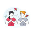 two female characters on spiritual therapy vector image