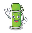 waving thermos character cartoon style vector image vector image
