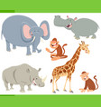 wild animals cartoon characters set vector image vector image