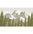 Woodcut tree and mountainscape vector | Price: 3 Credits (USD $3)