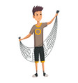 young man with fish net in his hands boy prepares vector image vector image